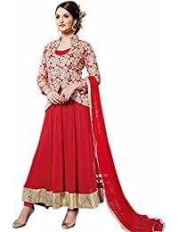 Aryan Fashion Designer Red Heavy Embroidered Georgette Anarkali Suit For Women & Girls Party Wear For Girls For...