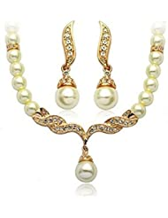 WAAH WAAH Fashion Jewellery Cute Gold Plated White Pearl Necklace Set For Women And Girls (1-NE00-WG-1193)