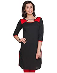 Varibha Girl's Branded Stitched Solid Black & Red Cotton Silk Low Price Kurti (Best Gift For Your Friend, Girlfriend... - B01HGS0R9C