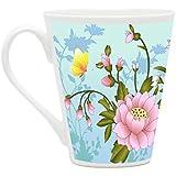 HomeSoGood Butterflies Collecting Nectar White Ceramic Latte Coffee Mug- 355 Ml