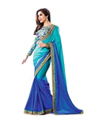 Temptingg Fashions Vibrant Shaded Blue Georgette With Embroidery Blouse And Lace Border Work Saree