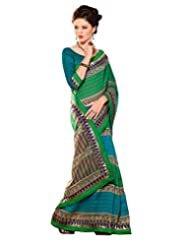 Inddus Exclusive Women Tussar Silk Green Printed Saree - B00NFFFMKA