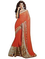 Balaji Women's Chiffon Saree(Do9402,Orange)