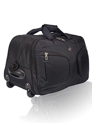 Cosmic 51 Litre Stylish Wheel Travel Duffle Trolley Bag - Luggage Strolley Travelling Bag - Black + Indigo Blue
