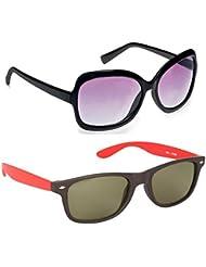 New Stylish UV Protected Combo Pack Of Sunglasses For Women / Girl ( BlackButterfly-RedWayfarer ) ( CM-SUN-009 )