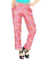 Fashion205 Pink And Orange Printed Cotton Satin Trouser - B00ZP57Q2A