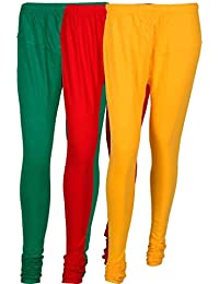 Cotton Leggings (Culture The Dignity Women's Cotton Leggings Combo Of 3_CTDCL_GRY_GREEN-RED-YELLOW_FREESIZE)