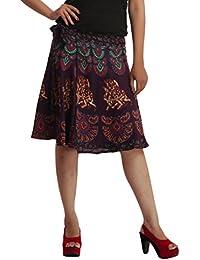 Wrap Around Skirt Knee Length Rayon Rajasthani Mandala Hand Block Printed By Indi Bargain