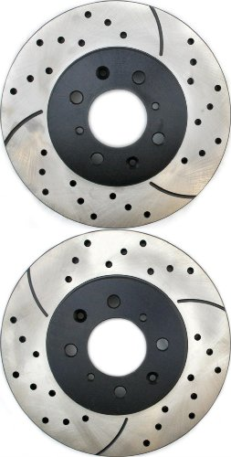 Prime Choice Auto Parts PR4297LR Performance Drilled and Slotted Brake Rotor Pair for Front