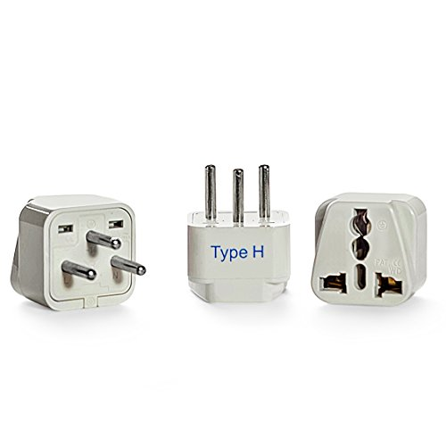Ceptics Israel Travel Plug Adapter for Israel, Palestine (Type H) - 3 Pack [Grounded & Universal] (GP-14-3PK)