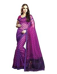 IndiWeaves Women Super Net Printed Pink Saree - B00VPXCH20