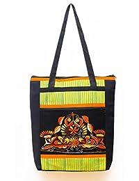 Seher Handicraft Kantha Embroidery Striped Shoulder Bag (35 Cm X 8 Cm X 39 Cm, Green)