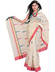 Exotic India Ivory Handloom Chanderi Saree With All-over Woven Paisl - Off-White