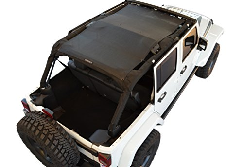 SPIDERWEBSHADE Jeep Wrangler Mesh Shade Top Sunshade UV Protection Accessory USA Made with 5 Year Warranty for Your JKU 4-Door (2007-2017) in Black