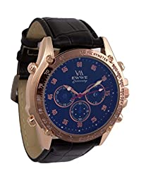 Addic EWWE Stylish Gold Tachymeter And Dark Blue Dial With Black Leather Straps Sports Watch For Men (34)