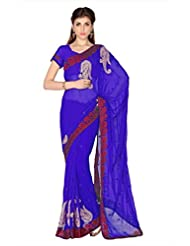Designersareez Women Blue Faux Georgette Saree With Unstitched Blouse (1773)