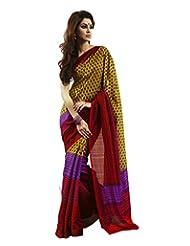 YSK Multicolor Casual Saree Bhagalpuri Silk Print Weaved Indian Sari