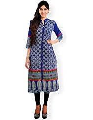 VESH Womens Straight Long Multi-Coloured Printed Kurti, Mandarin Collar With A Split 'V' And Button Placket, Embellished...