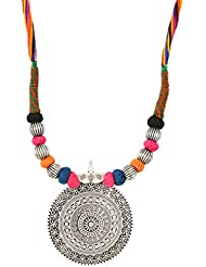Charisma Creations Vintage German Silver Pendant With Multicolored Thread Necklace For Women