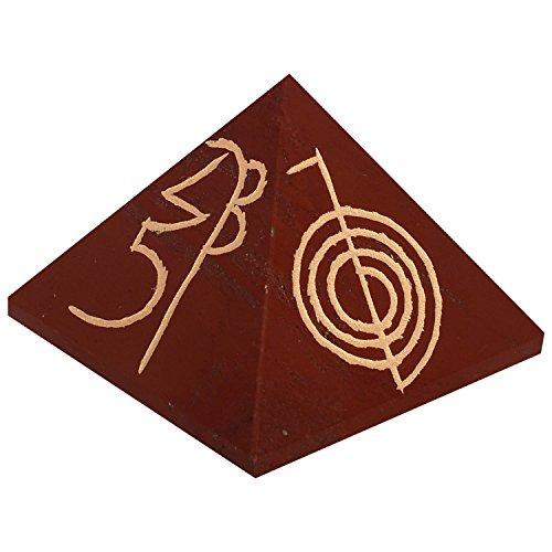 The Crystal Jewel Reiki Symbol Carved On Red Jasper Pyramid