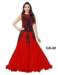 Karishma Red Net With Work Anarkali Suit