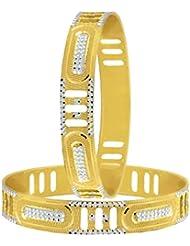 The Jewelbox Wedding Filigree 22k Gold Plated Rhodium Metal Chuda Kada Bangle Set Of 2 For Women - B01IQY0E48