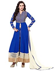 Inddus Women Blue Georgette Embroidered Dress Material - B011INMLPE
