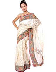 Exotic India Ivory Handwoven Sari From Banaras With Multi-Color Floral B - Ivory