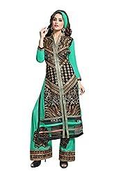 Trendz Apparels Turquoise 60 Gm Georgette Straight Cut Salwar Suit
