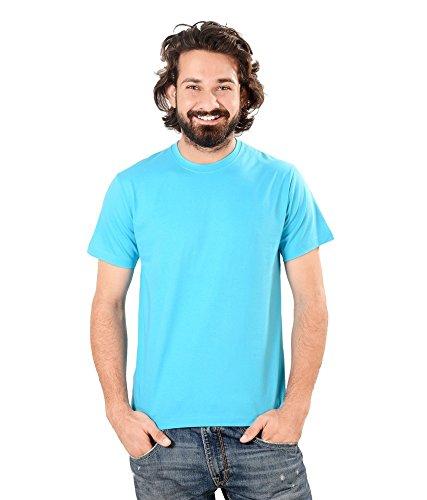 Neevov Men's Round Neck Cotton Turquoise T-Shirt