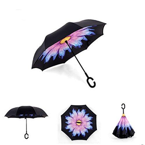 RAIN QUEEN Parapluie Canne Ouverture Inversé Double Toile Imprimé +C Poignée Grand Taille Dimension 110cm pour 2 personnes (Lilas Fleur)
