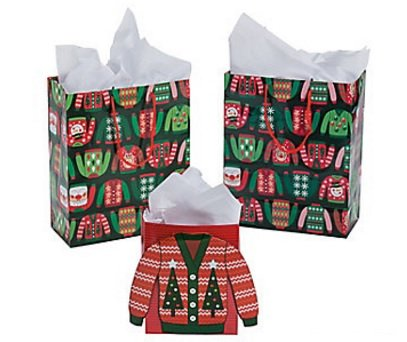 Ugly Christmas Sweater Paper Gift Bags - 12pc