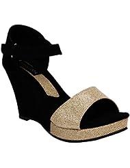 Footshez Women's Black Casual Wedges