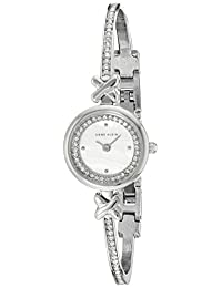 Anne Klein Women's AK/1689MPSV Swarovski Crystal-Accented Silver-Tone Bangle Watch