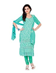 Nazaquat Elegant Blue Semi Stitched Chanderi Cotton Salwar Kameez Suit - B00TH1L7MS