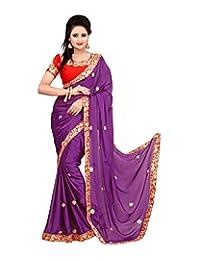 Bano Tradelink Women's Satin Saree (Blue)