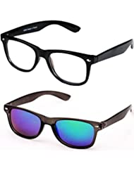 Sheomy Unisex Combo Pack Of Transparent Wayfarer Sunglasses And Black Red Wayfarer Sunglasses For Men And Women...