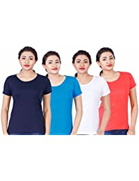 Fleximaa Women's Cotton Round Neck T-Shirt Plain (Pack Of 4) - White, Blue, Coral Red & Navy Blue Colors.