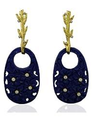 Aastha Jain Blue Resin Carved Sterling Silver(18k Gold Polish) Earring For Women