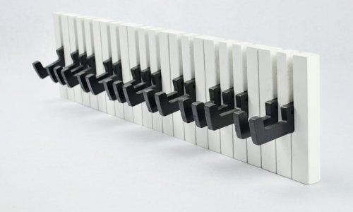 Wandgarderobe Design Hakenleiste 16 Haken Klavier Garderobe  Piano