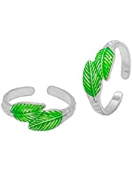 Voylla Sterling Silver Toe Ring Set Featuring Leafy Charm DesignSterling Silver To