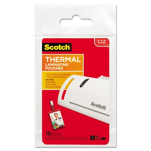 Scotch ID badge size thermal laminating pouches, 5 mil, 4 1/