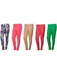 IndiWeaves Womens Cotton Churidar Leggings Combo(Pack Of 1 Printed Legging And 4 Solid Legging)_Multicolor::Pink_FREE...