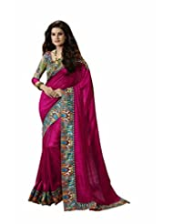 Vipul Salem Silk Pink Chevron Print Saree With Attached Paisley Print Border