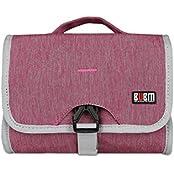 BUBM Wash Supplies Pack Electronics Accessories Organizer Digital Storage Bag Travel Carrying Case Rose Rose