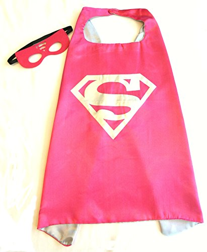 Superhero Cape and Mask Sets for Pretend Play, Dress Up, and Parties (Supergirl)