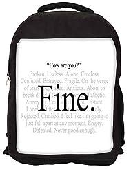 Snoogg Im Fine Express Yourself Backpack Rucksack School Travel Unisex Casual Canvas Bag Bookbag Satchel