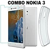 AVICA™ COMBO OFFER Premium Transparent Crystal Clear Back Cover TPU + 2.5D HD Premium Tempered Glass For Nokia 3