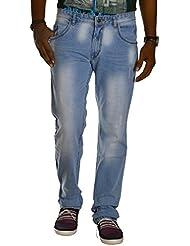 Jugend Light Blue Distressed Stretchable Washed Slim Fit Jeans For Men
