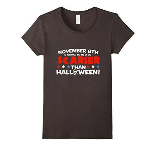 Trump and Clinton Halloween Costumes - Choose Edgy or Funny - Women's Scarier Than Halloween Anti-Hillary Clinton T-Shirt Funny Asphalt